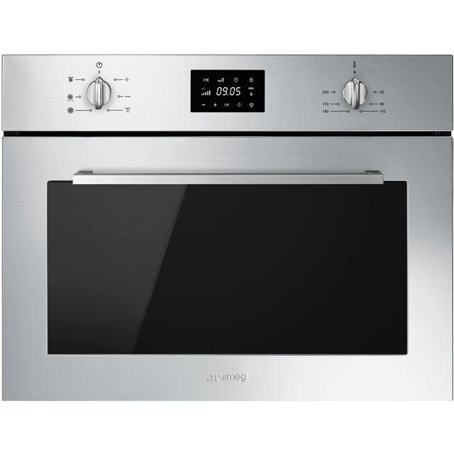 Smeg Cucina SF4400MCX Built In Compact Electric Single Oven with Microwave Function - Stainless Steel