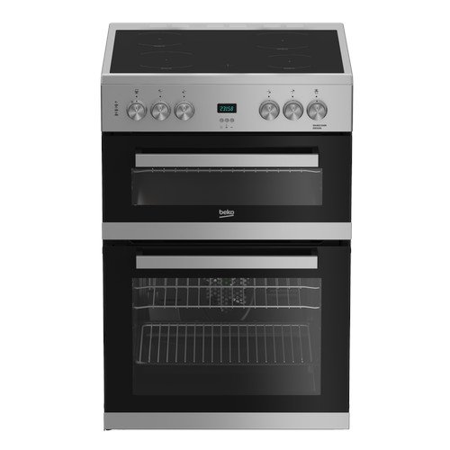Beko EDC633S 60cm Electric Double Oven with Ceramic Hob Silver