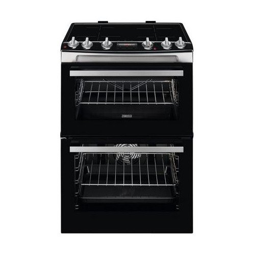 """Zanussi ZCI66288XA 60cm Electric Double Oven with Induction Hob """" Black and Stainless Steel"""